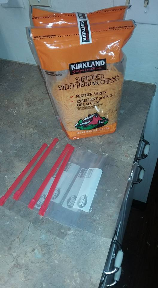 Portioning out shredded cheddar