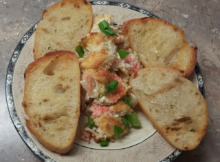 Baked Crap Dip & Toasted Baguettes