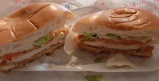 DQ Chicken Sandwich cut-away