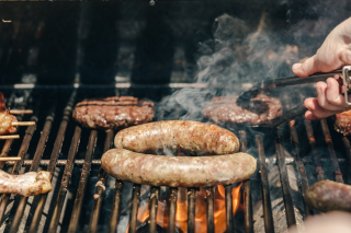 Sausages-and-burgers-on-a-grill
