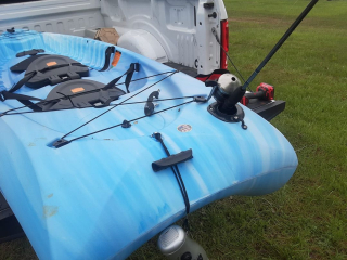 Kayak fishing rod holder installation